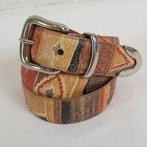 Vintage South Western Aztec Leather Belt